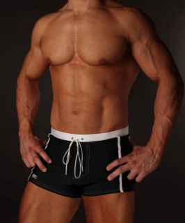 Black and White Stripe Swimming Trunks